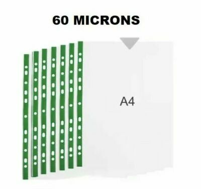 High Quality 60 Micron Strong Green Strip Deluxe Glass Clear A4 Punch Pocket 100