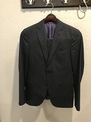 "Ted Baker Endurance ""Jones"" Navy Plaid Trim Fit Suit 36S Hemmed"