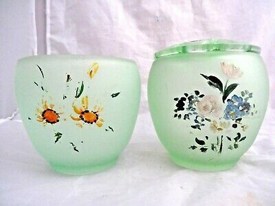 2 x Vintage BAGLEY FROSTED GREEN 'SOMERSET' GLASS POSY VASE / BOWLS