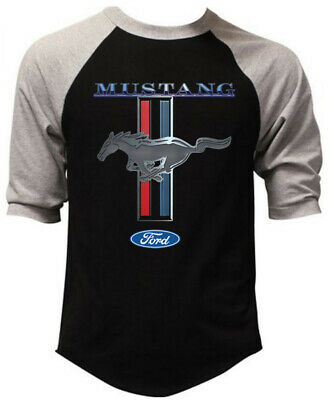 Men's Ford Mustang Black Baseball Raglan T Shirt GT350 Shelby Cobra Muscle Car