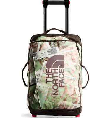 """New North Face Rolling Thunder 22"""" Carry-On Wheeled Luggage White Topo Map Print"""