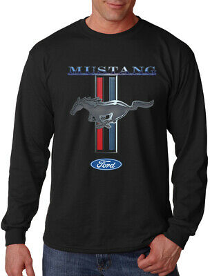 Men's Ford Mustang Long Sleeve Black T Shirt GT350 500 Shelby Cobra Muscle car