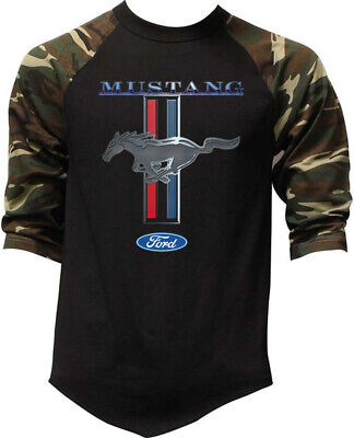 Men's Ford Mustang Camo Baseball Raglan T Shirt GT 350 Shelby Cobra Muscle car