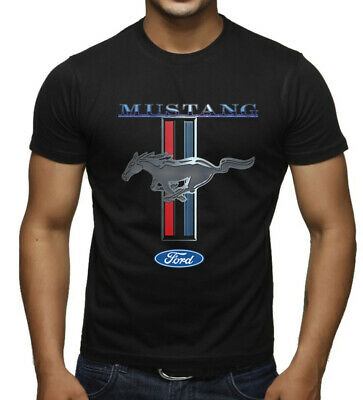 Men's Ford Mustang Black T Shirt GT350 500 Shelby Cobra Muscle car fastback Race