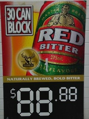 Tooheys Red Bitter Beer 375mL Cans 30 Block Brand New Advertising Corflute Sign