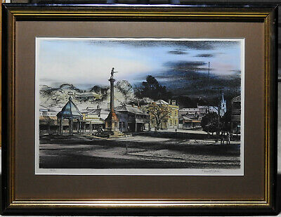 Kenneth Jack (1924-2006) Large Original Lithograph Country Town Anzac Statue