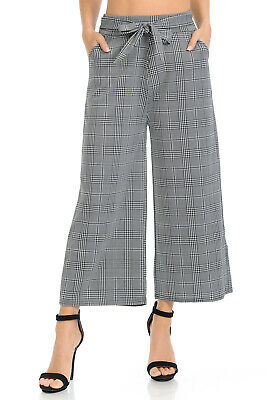 Auliné Collection Womens High Waisted Wide Leg Culottes Cropped Palazzo Pants