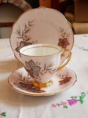 Vintage pretty Windsor Pink bone china autumn leaves teacup saucer & side plate