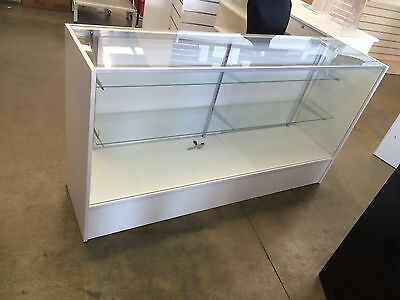 White 1500mm glass display retail shop counter !!!BRAND NEW!!! Flat packed
