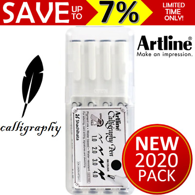 ARTLINE CALLIGRAPHY BLACK PEN SET 4x Pens Great for Art Craft Scrapbooking Draw