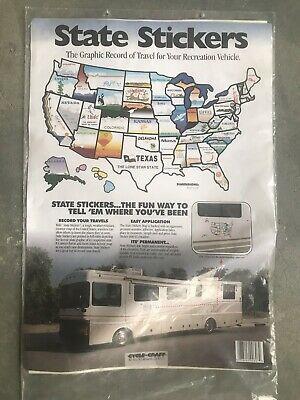 RV STATE STICKERS United States Travel Camper Map 21\