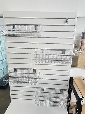 Chrome wire basket for slatwall 600mm x 300mm x 135mm cheap shop fittings
