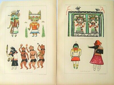 2 Antique American Indian Prints: Hopi Kachina Dolls; American Indian: 1899