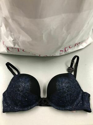 Victorias Secret Bombshell Plunge Push-up Bling Lace Bra Navy Blue Black 32A