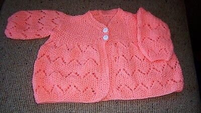 New Hand  Knitted   Baby Jacket Bright Apricot 1 - 2  Years  App Reduced