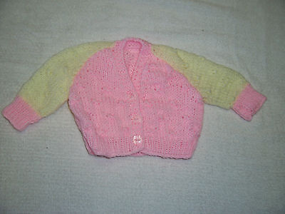 New Hand Knitted Baby Cardigan  Pink & Lemon  Newborn