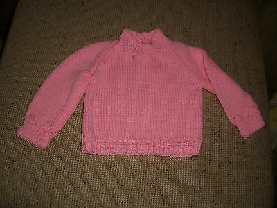 New Hand Knitted Baby Jumper Pink  3 - 6  Months App