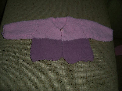 New Hand Knitted Baby Cardigan Pink & Mushroom 3 - 6  Months App
