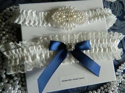 Wedding Garter Set -Ivory  -Navy Bows- Pearl Motif  - Free Organza Pouch