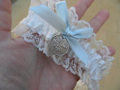 Wedding Garter White Satin - Genuine Sixpence Coin -Free Pouch