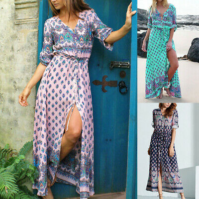 Charming Women Holiday Boho Floral Sundress Holiday Beach Party Long Maxi Dress