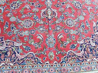 "Semi Antique Persian  rug Carpet 10'8""×14 hand woven wool vintage distress"