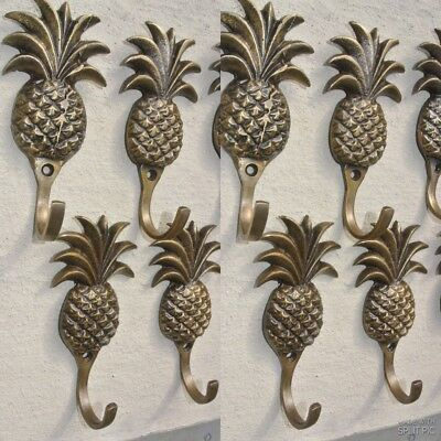 "12 small PINEAPPLE BRASS HOOK COAT WALL MOUNTED HANG TROPICAL old style hook 4""B"