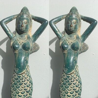 "2 medium MERMAID brass door PULL old style look heavy house PULL handle 13"" B"