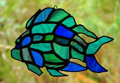 TURQUOISE TROPICAL FISH Ocean Nautical STAINED GLASS SUNCATCHER Handmade Gifts
