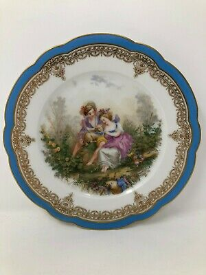 Sevres France Chateau De St Cloud Blue Gold Courting Scene Cabinet Plate 8 3/8""