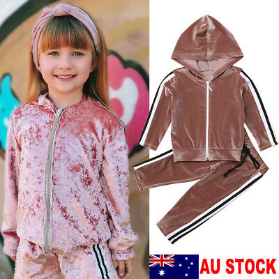 AU Stock Infant Baby Girls Kids Long Sleeve Velvet T-shirt Clothes Pants Outfits