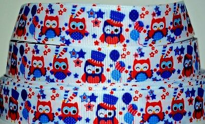 "4 Yards 7//8/"" 3//8/"" 4th July Owls Flags Red White Red CupcakeLot Grosgrain Ribbon"