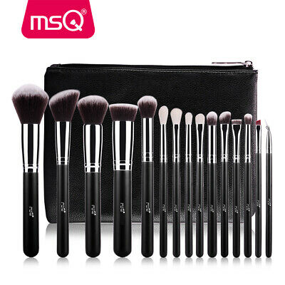 15pcs Artist Pro Face Makeup Brushes Set Soft Synthetic Hair + PU Holder Bag MSQ