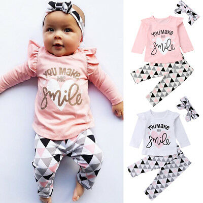 AU Stock 3Pcs Infant Baby Girl Long Sleeve T-Shirt Leggings Pants Outfit Clothes