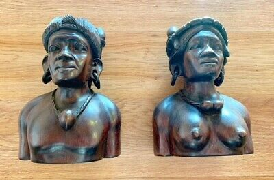 """Vintage south sea island carved heads, with articulated earrings. 6"""" high"""