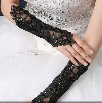 1Pair Fashion Lace Long Gloves Fingerless Black Beading Stretch Embroidered