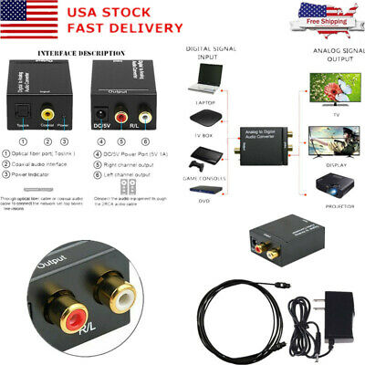 Digital Optical Coax to Analog-RCA L/R Audio Converter Adapter with Fiber Cable