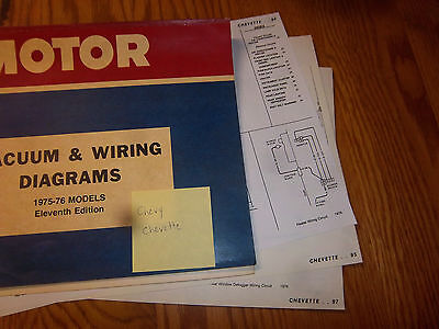 1976 chevy chevette electrical wiring diagram~vacuum circuit~schematic  sheet-set