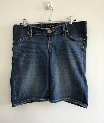 Jeanswest Women's Size 10 Maternity Shorts Blue Denim Under Belly Side Elastic