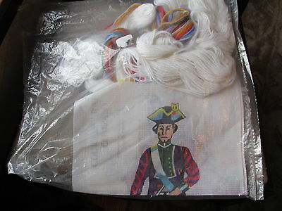 Complete Kit Needlepoint Colonial Soldier Drummer Boy Wool Courtly Crafts 1976