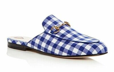 db0bfeec4a11 Gucci Princetown Blue White Plaid Check Slide Loafer Mule Slipper Flat 37