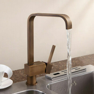 Single Handle 1-Hole Antique Brass Kitchen Sink Faucet Contemporary Water Tap