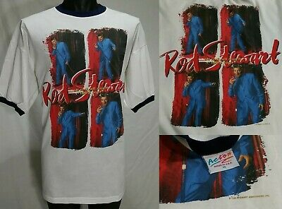 Vintage Rod Stewart Tour T Shirt XL 90s ALL NIGHT 1999 Concert Ringer Tee 923bf11c24b8