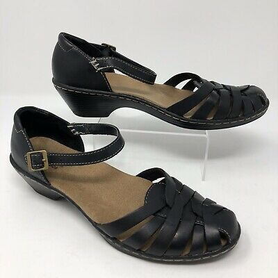 332e6b622ea Clarks Bendables Womens 7M Wendy Land Black Leather Ankle Strap Sandals   60552