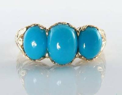 Large 9K 9Ct Gold Persian Turquoise 3 Stone Trilogy Art Deco Ins Ring Free Size