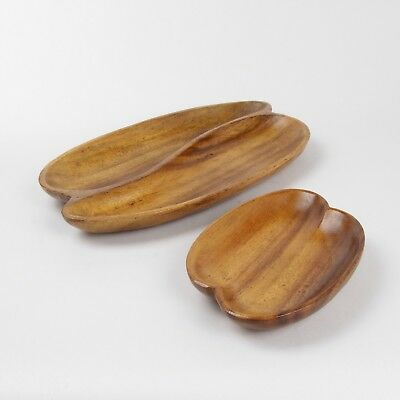 Matching Handcrafted Vintage Wooden Dishes Mid Century Modern Monkey Pod Acacia
