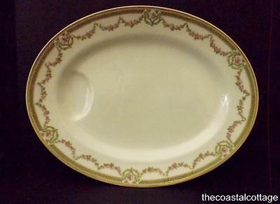 Antique Theo Haviland Limoges Oval Platter Schleiger 1073A Rose Swags Green Band