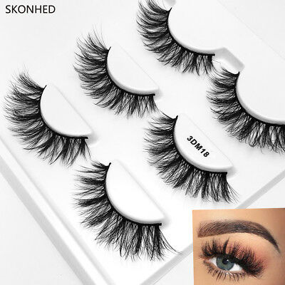 Fluffy Thick Cross False Eyelashes Extension Tools Messy Long 3D Mink Hair ~