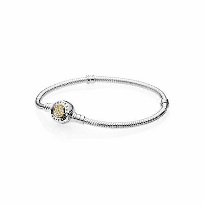 Pandora Signature Bracelet Clear CZ Two Tone Sterling Silver 14K gold Jewelry