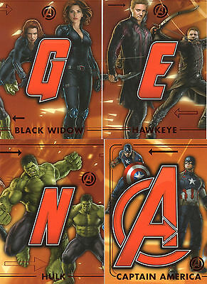 2015 Marvel Avengers Age of Ultron; 4 Avengers Connect Cards ACT1 ACT4 ACT5 ACT6